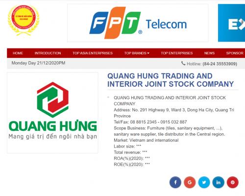 QUANG HUNG TRADING AND INTERIOR JOINT STOCK COMPANY Trên Diễn Đàn Hội Nhật Kinh Tế ASIA